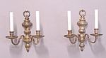 Pair Of Silver Plated Double Arm Wall Sconces C1920
