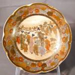 Enameled Japanese Satsuma Scalloped Edge Bowl Meiji C1900