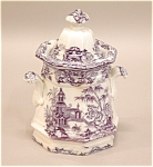 Ironstone China Mulberry Oriental Gothic Panel Sugar Jar C1850