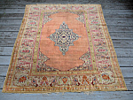 Turkish Silk Scatter Rug Carpet 4.1x 5.2 Circa1900