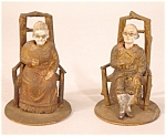 Pair Nineteenth Century Pottery Wood Nodders