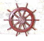 Vintage 19th Century Iron And Teak Ships Wheel C1880