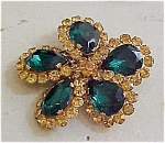 Topaz And Green Rhinestone Pin