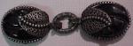 Black Carved Bakelite Buckle With Silvertone