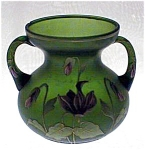 Green Satin Hand Painted Art Nouveau Vase