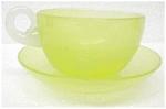 Steuben Yellow Jade Cup/saucer
