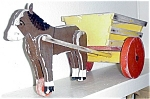 Toy Wood Donkey And Cart