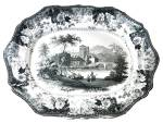 Black Transferware Platter Lyons Cathedral