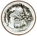 Black Transferware Shepherdess Plate 1820