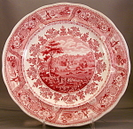 Red Transferware Plate Clyde Scenery 1835