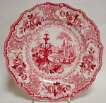 Adams Red Transfer Fountain Scenery Plate