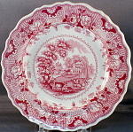 R. Hall Parisian Chateau Red Tranfer Plate