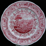 Red Tranferware Clyde Scenery Plate 1835
