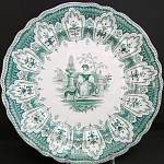 Teal Green Transferware Plate With Dog 1835