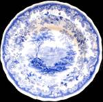 Set Of Six Blue Transferware Soup Bowls 1835