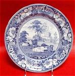 Pineapple Border Blue Transferware Plate 1825