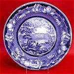 Blue Transferware Derbyshire Plate 1825