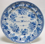 Pearlware Blue Transfer Lovers Plate 1825
