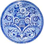 Blue Transfer Mosaic Tracery Plate Clews 1830