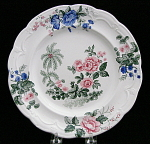 Three Color Transferware Floral Plate 1830