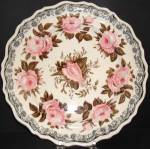 Three Color Transferware Plate Moss Rose 1835