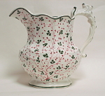 Victorian Chintz Pink And Green Shamrock Jug