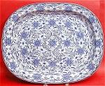 Blue Transferware Sheet Pattern Platter 1820