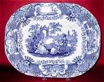Blue Transferware Spanish Beauties Platter