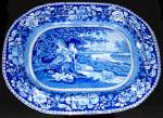 Blue Tranferware Platter Sheltered Peasants