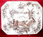 Aesthetic Transferware Brown Platter Anglais