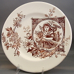 Brown Transferware Aesthetic Plate Gardener