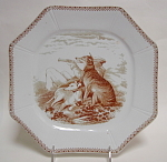 Sporting Scenes Brown Transfer Dog Plate 1880