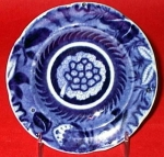 Dark Blue Pearlware Floral Cup Plate 1825