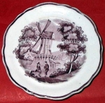 Purple And White Pearlware Doll Plate C 1835