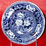 Riley Flowers Blue Transferware Cup Plate