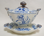 Blue Transfer Sauce Tureen British Flowers