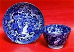 Dark Blue Transferware Cup And Saucer 1825