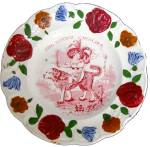 Red Transferware Child's Plate Dog 1840