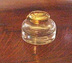 English Glass Inkwell With Brass Lid