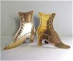 English Brass Boot Mantel Ornaments