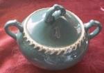 Pate Sur Pate Teal Sugar Bowl With Lid