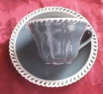Pate Sur Pate Teal Cup And Saucer