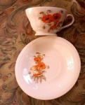 Knowles Orange Poppy Cup And Saucer Crazed