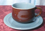 Red Wing Village Green Cup And Saucer Set