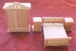 Wooden Doll House Bedroom Set