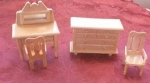Wooden Doll House Chest And Chair Set