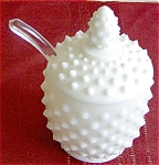 Fenton Milk Glass Hobnail Jam Jar