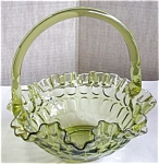 Fenton Green Thumbprint Basket