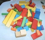 Lot Of Vintage Wooden Building Blocks Toys