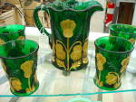 Inverted Thistle Green Hand Decorated Pitcher Tumblers